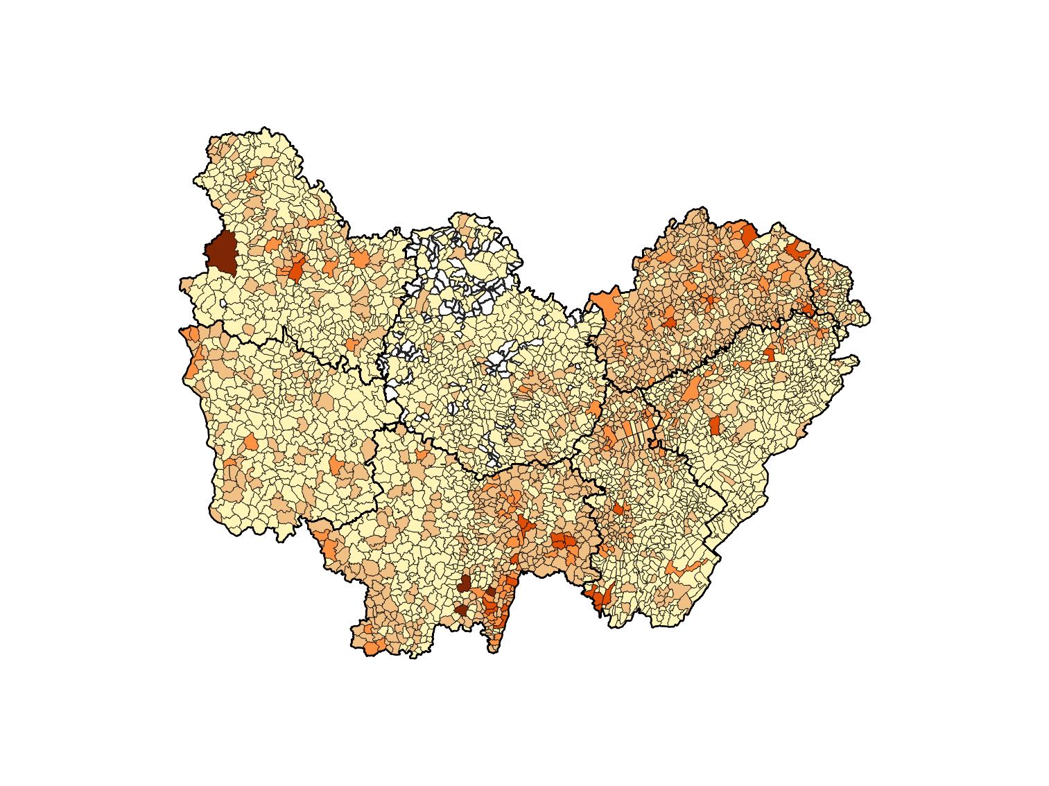 Nombre de reconnaissance au titre des catastrophes naturelles par commune de 1982 à 2020