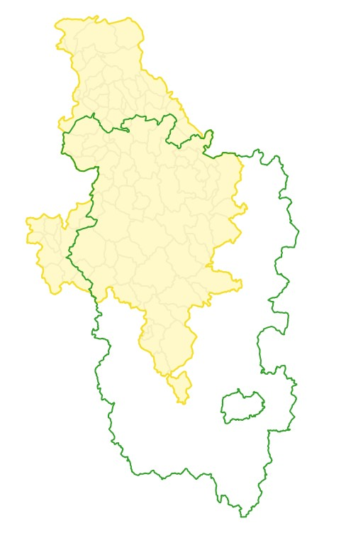 Périmètres Contrat Global Cure Yonne 2015-2020 dans le Parc naturel régional du Morvan