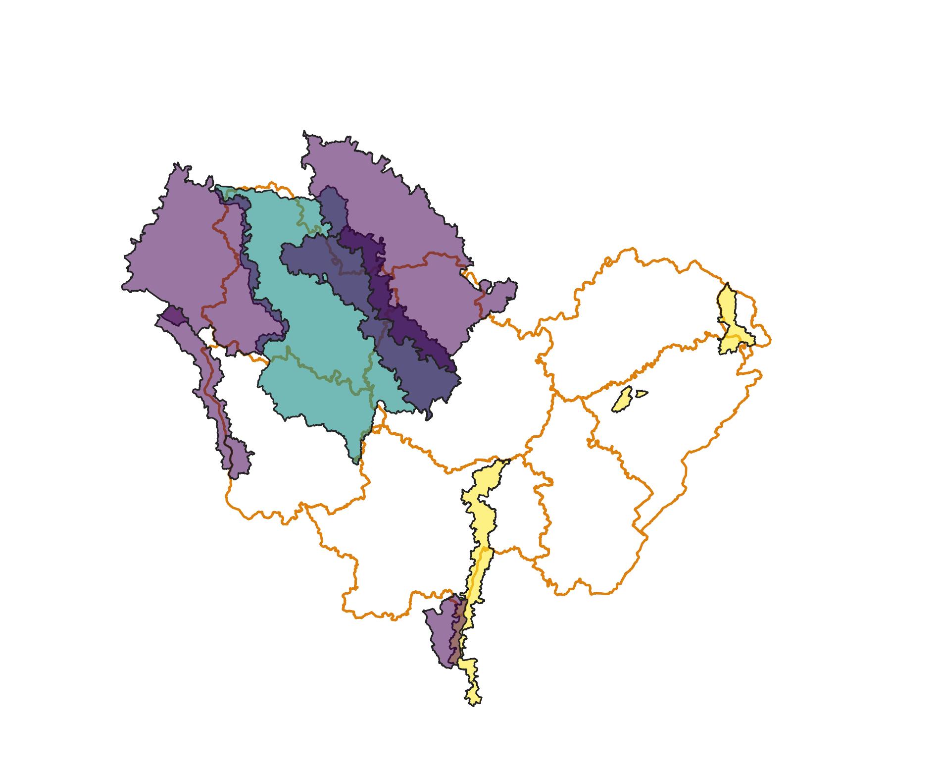 Périmètres des PAPI (Programmes d'Actions de Prévention des Inondations) en Bourgogne-Franche-Comté