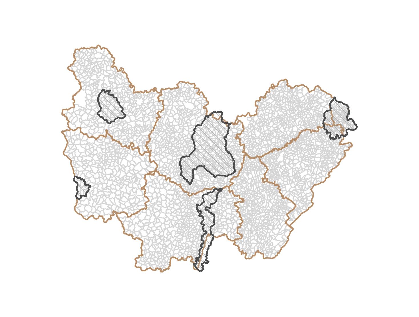 Périmètres des Stratégies Locales de Gestion des Risques Inondation en Bourgogne-Franche-Comté
