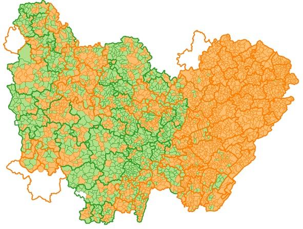 Adhérents du GIP Territoires Numériques Bourgogne-Franche-Comté et leur localisation