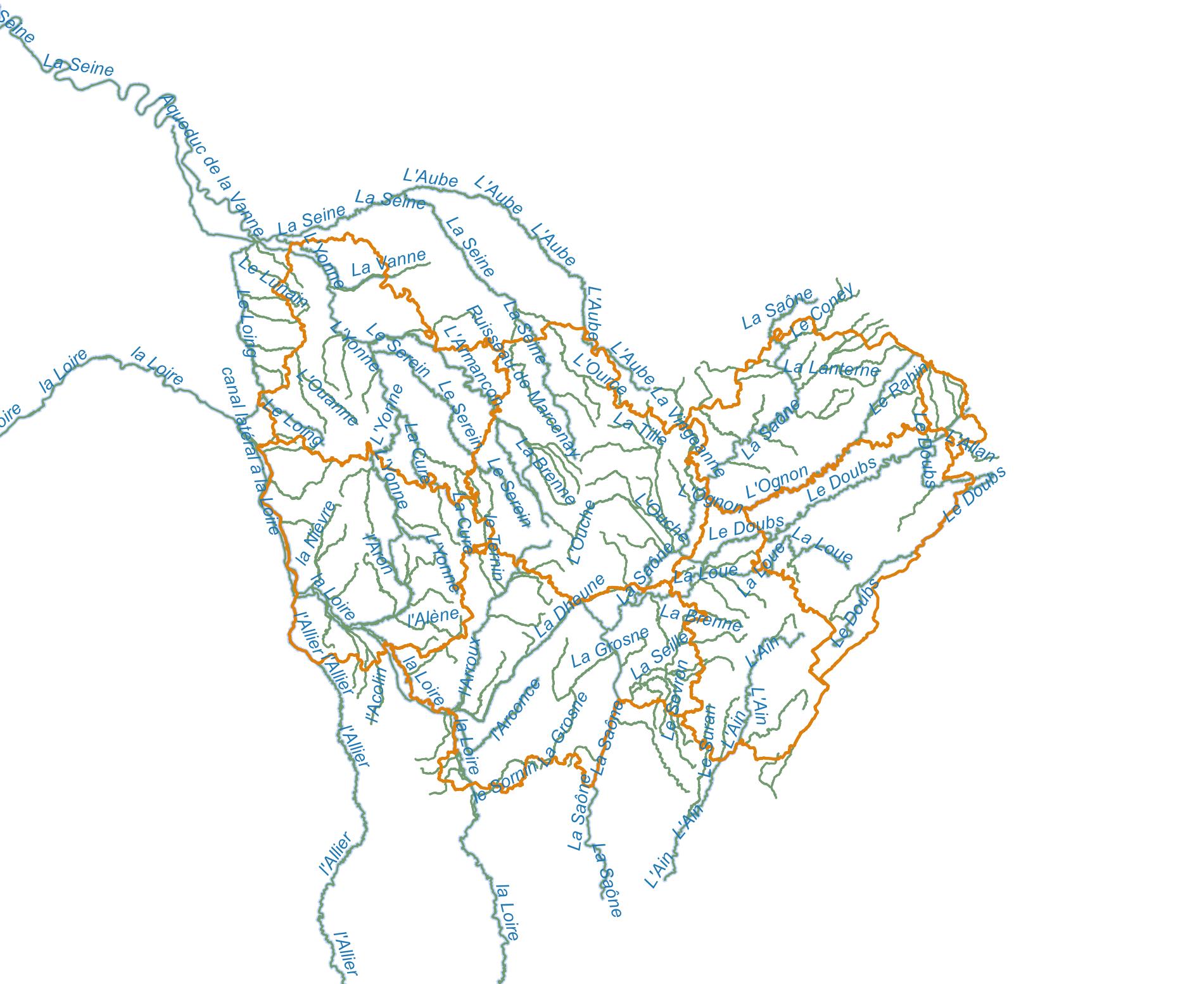 Principaux cours d'eau de la Bourgogne-Franche-Comté