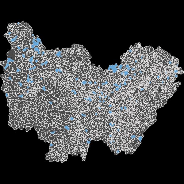 Localisation communale des captages prioritaires en Bourgogne-Franche-Comté